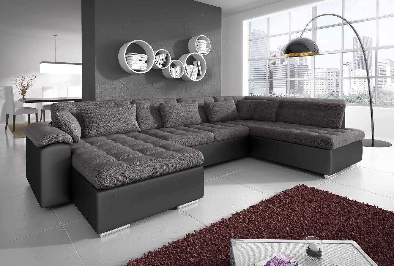 Zwart Leren Design Hoekbank.Hoekbank Nicoreta Antraciet Zwart Links Leer Stof