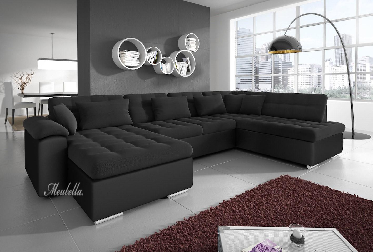 Hoekbank nicoreta zwart links leer stof actie meubella - Zwarte bank lounge ...