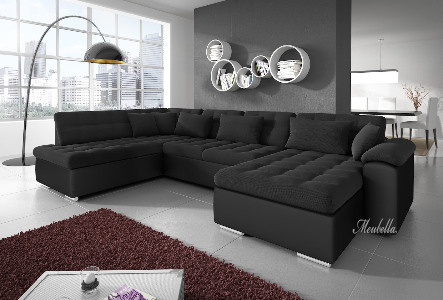 Woonkamer met lzwart leren hoekbank interieur meubilair idee n - Zwarte bank lounge ...