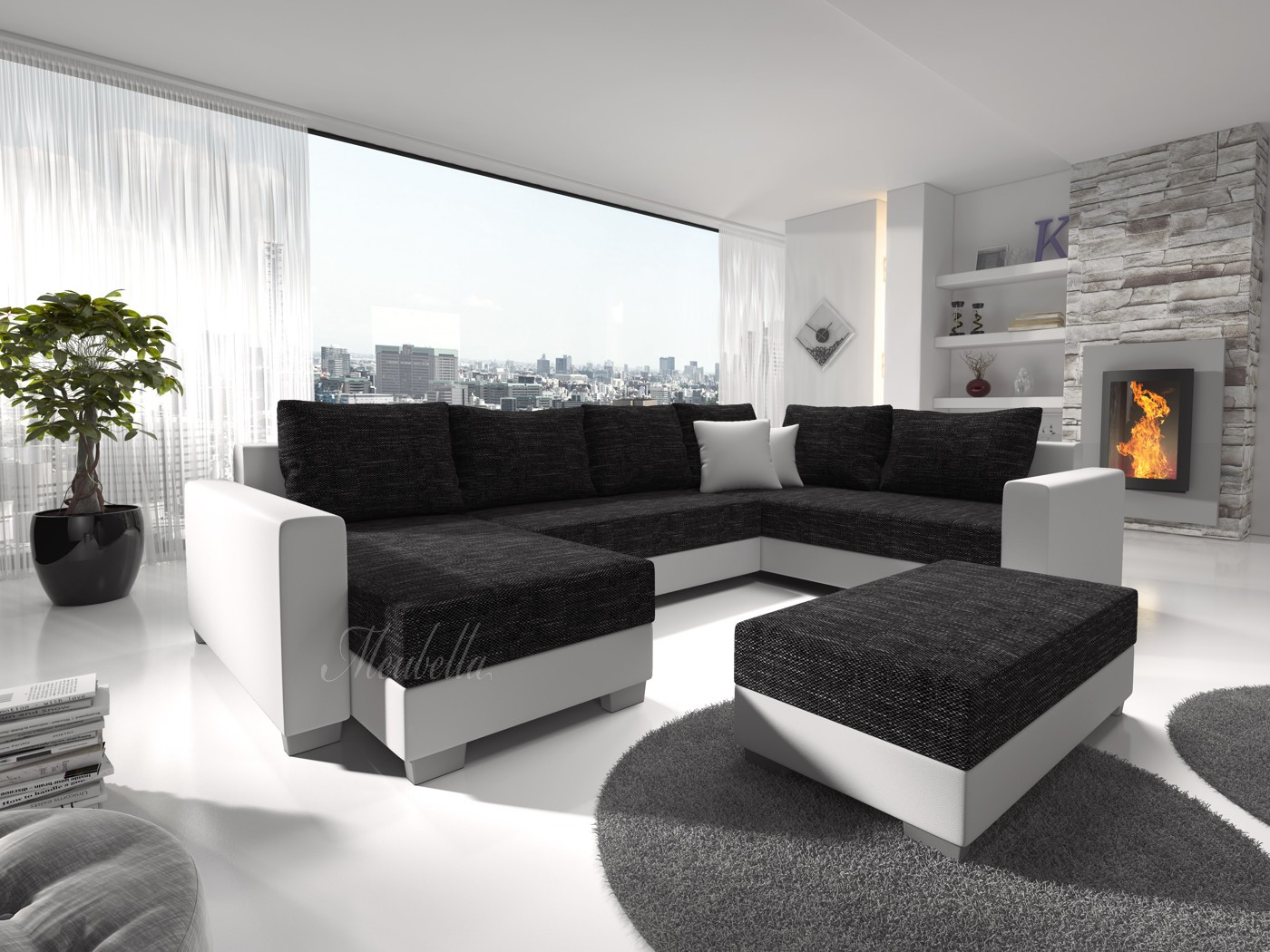 Zwart wit hoekbank studio kop en schotel - Moderne zwart witte lounge ...