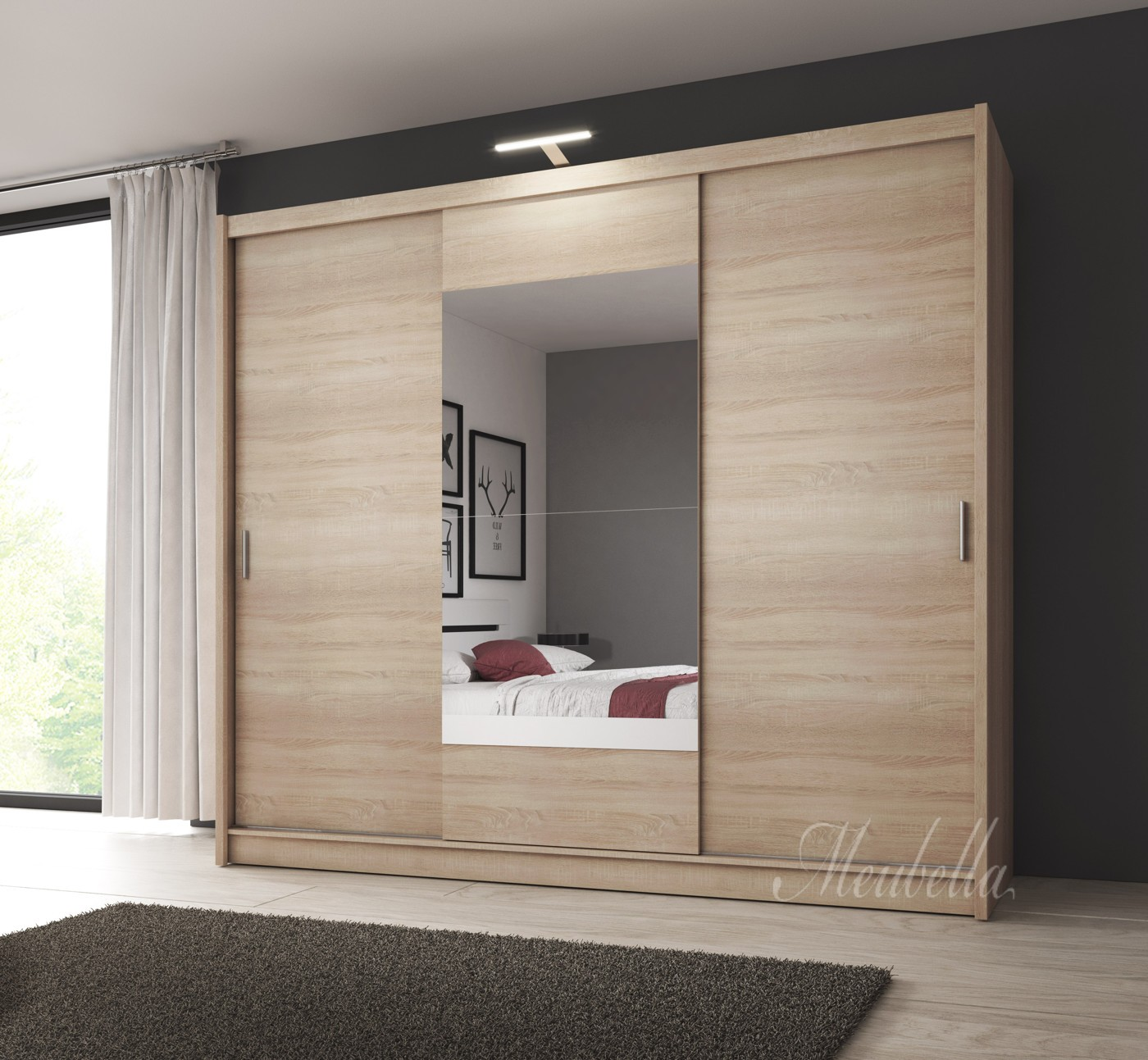 kledingkast houston licht eiken met led verlichting 250 cm meubella. Black Bedroom Furniture Sets. Home Design Ideas