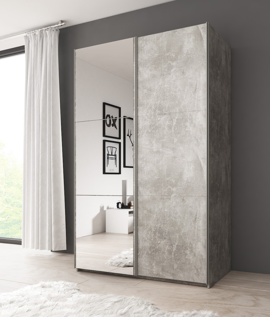 Kledingkast Toledo - Betonlook - 130 cm