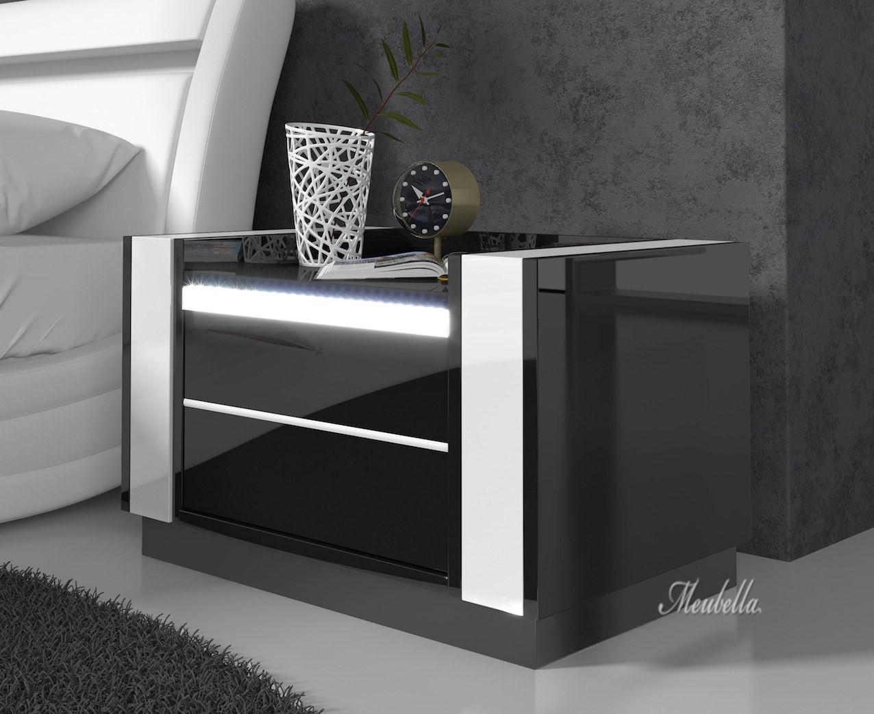 Nachtkastje Luna   LED   Zwart   Wit   Set van 2   Nachtkastjes   Kasten   Slaapkamer   Meubella