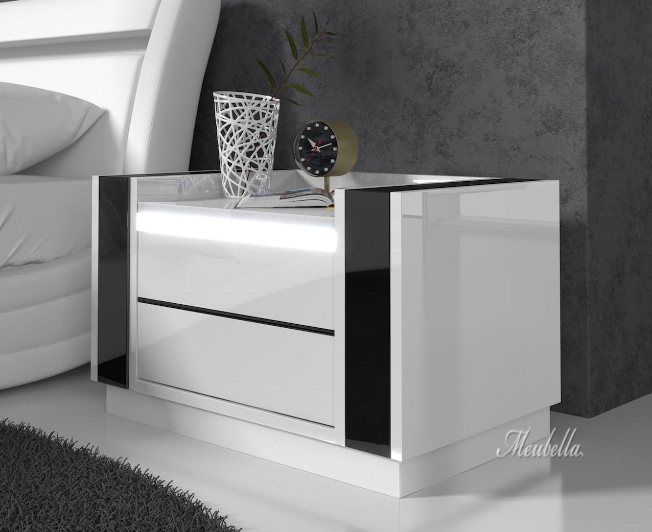 Nachtkastje Luna   LED   Wit   Zwart   Set van 2   Meubella