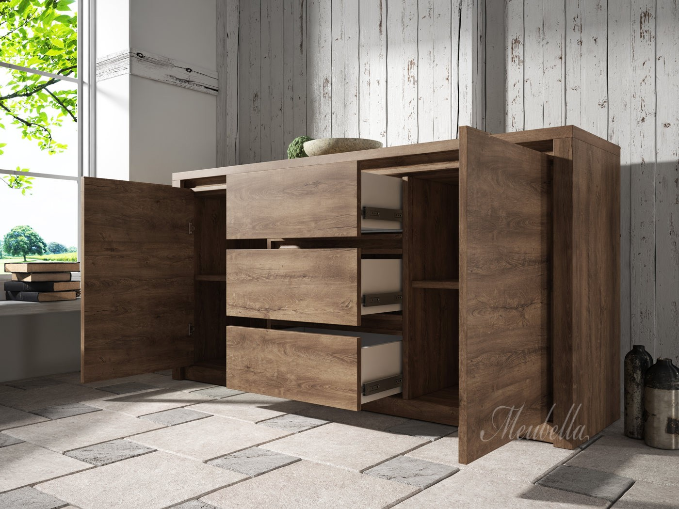 dressoir monaco eiken 140 cm meubella. Black Bedroom Furniture Sets. Home Design Ideas