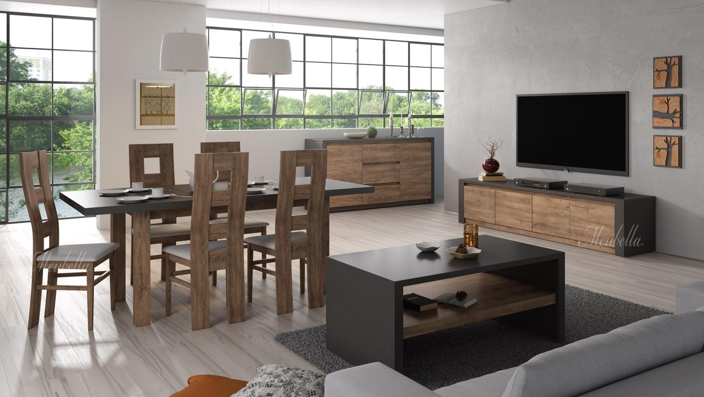 Woonkamer monaco eiken grijs groot meubella for Complete woonkamer meubels