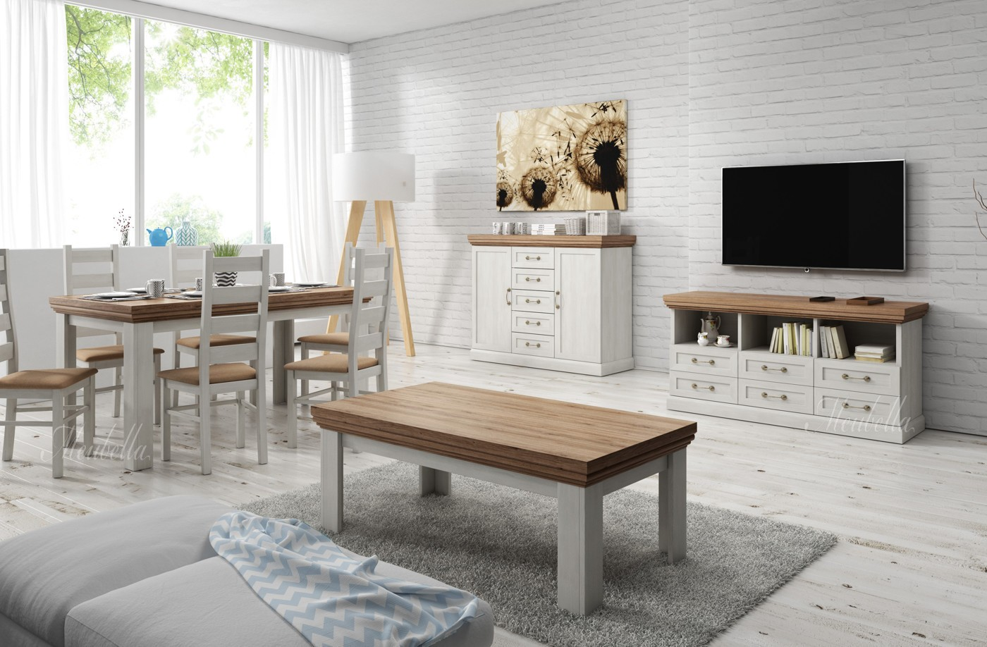 Woonkamer river wit licht eiken 2 meubella for Complete woonkamer meubels