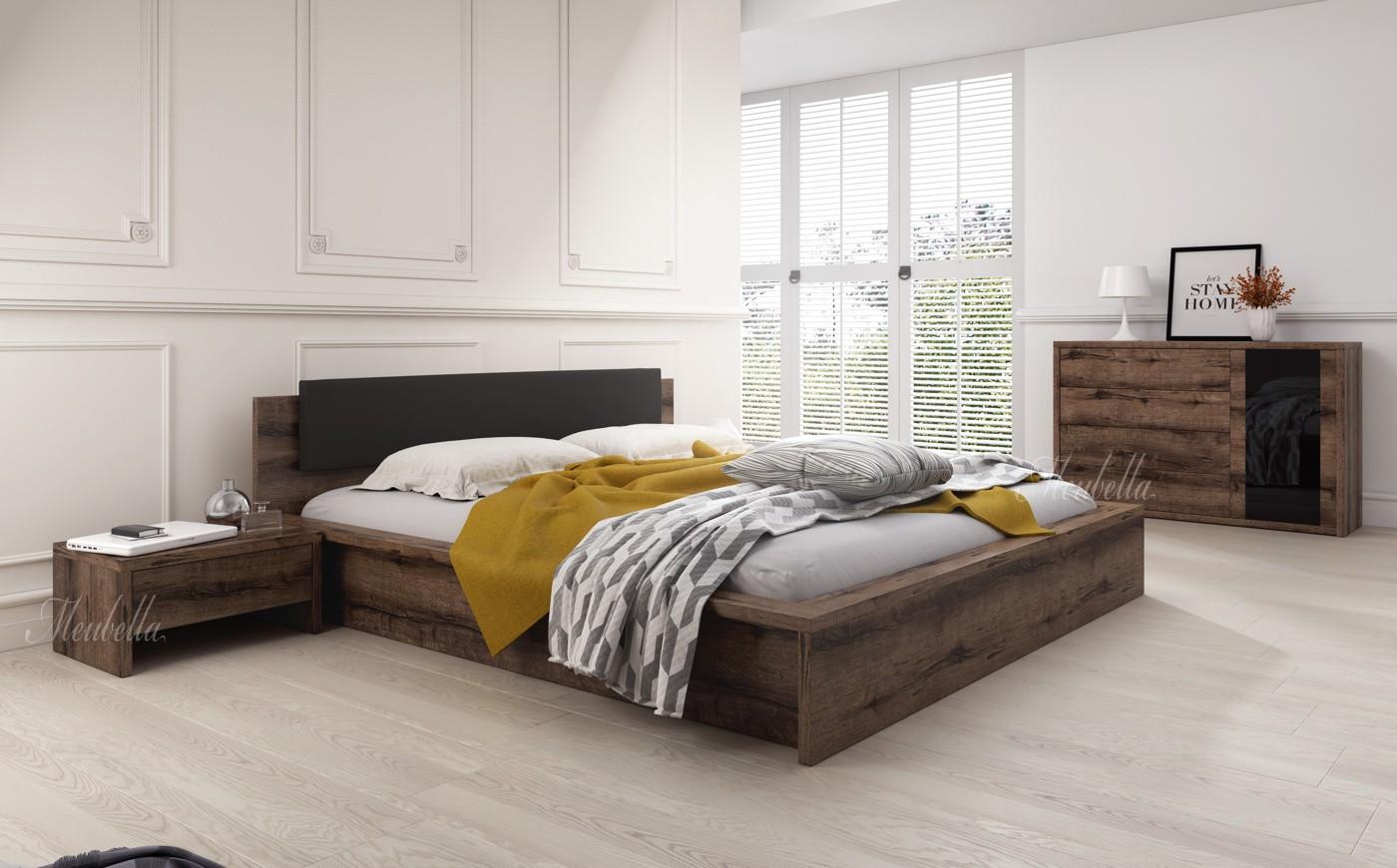 slaapkamer indigo 180 - eiken - zwart - klein - actie | meubella, Deco ideeën