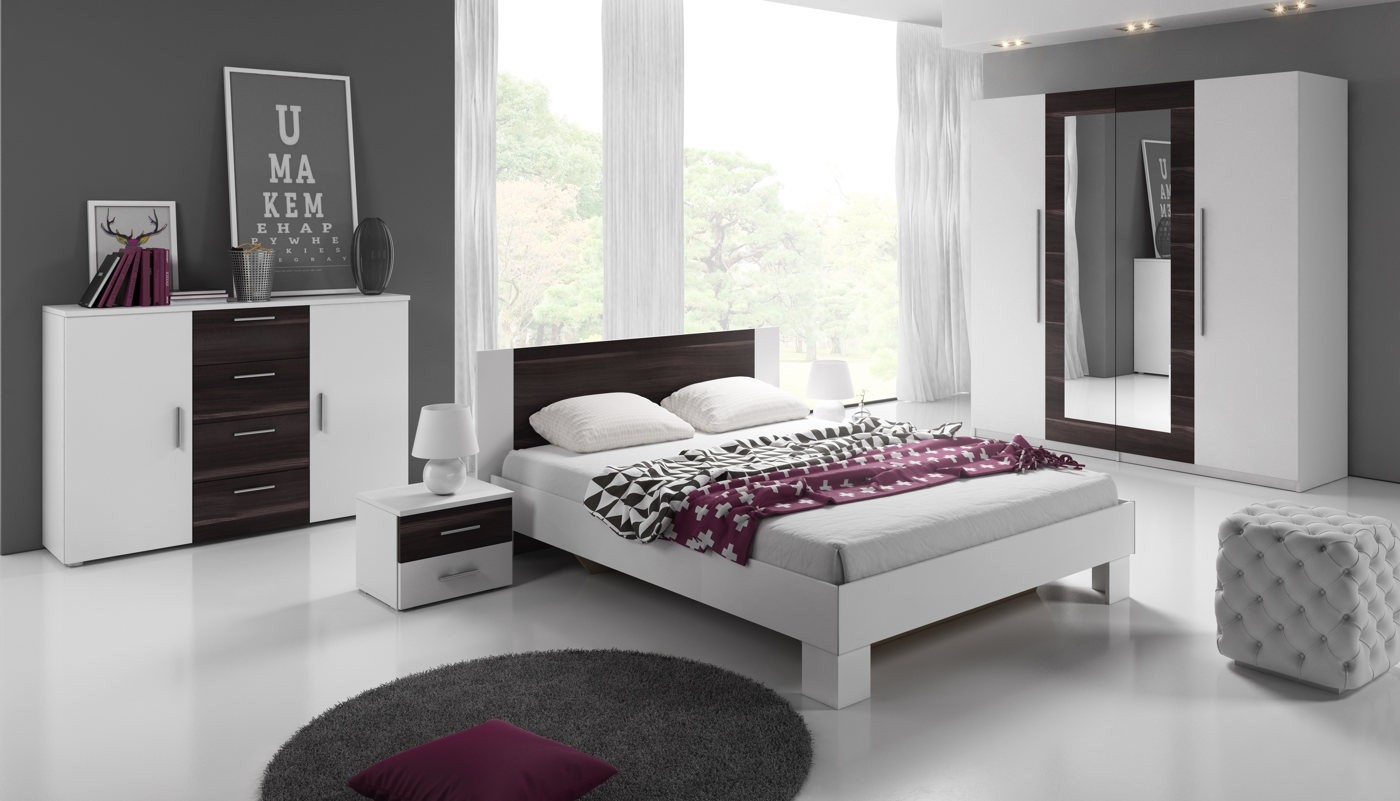 Slaapkamer victor 160 wit zwart eiken groot meubella for Slaapkamer set boxspring