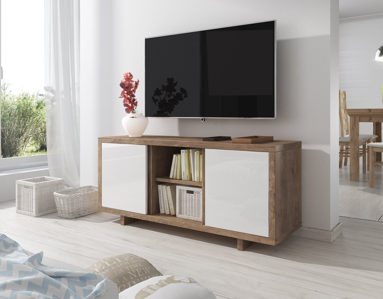 Tv meubel alpha wit eiken 134 cm meubella for Tv meubel design