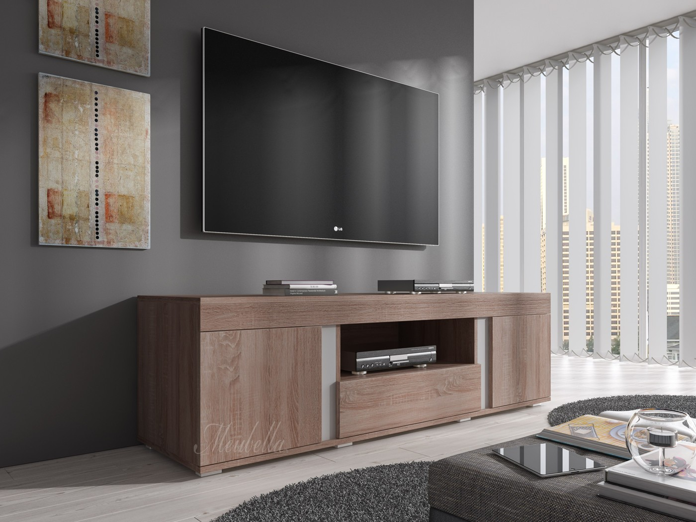 tv meubel alvarez truffel eiken 160 cm actie tv meubels kasten en vitrinekasten. Black Bedroom Furniture Sets. Home Design Ideas