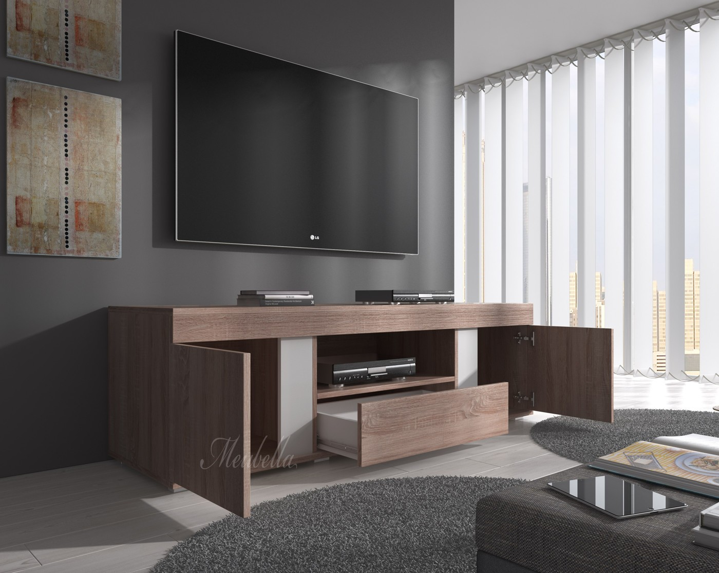 tv meubel alvarez truffel eiken 160 cm actie meubella. Black Bedroom Furniture Sets. Home Design Ideas