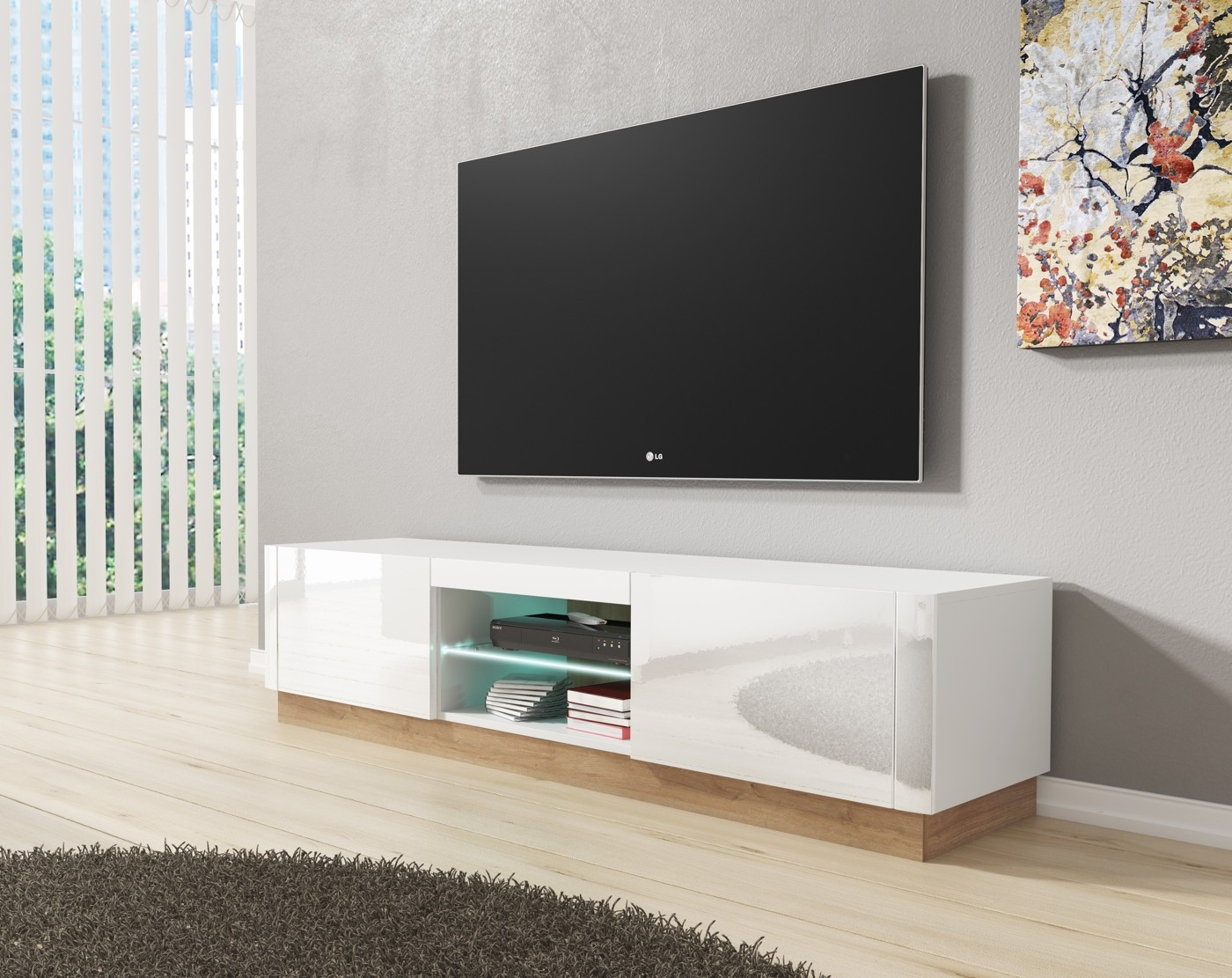 Tv Meubel Design Eiken.Tv Meubel Aron Wit Eiken 165 Cm