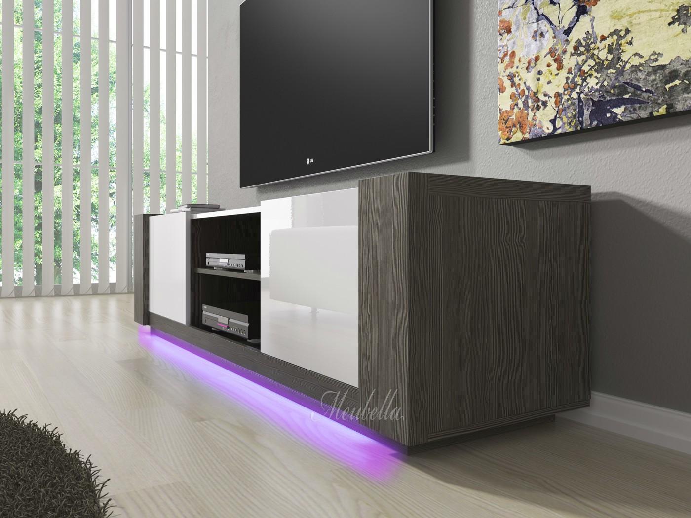 TV-Meubel Arulo met LED - Grijs eiken - Wit - 160 cm  Meubella