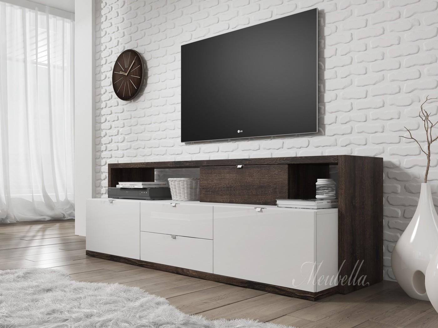 #594F4622249064 TV Meubel Ashland Wit Donker Eiken 161 Cm Meubella betrouwbaar Design Glazen Tv Meubels 1147 afbeelding opslaan 140010501147 Idee