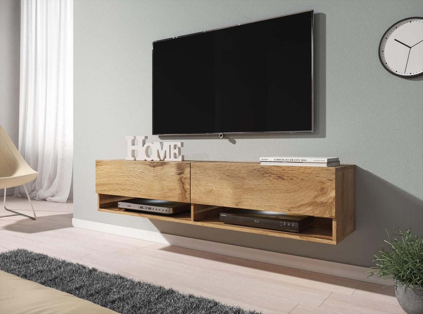 Tv Meubel Design Eiken.Tv Meubel Asino Led Eiken 140 Cm