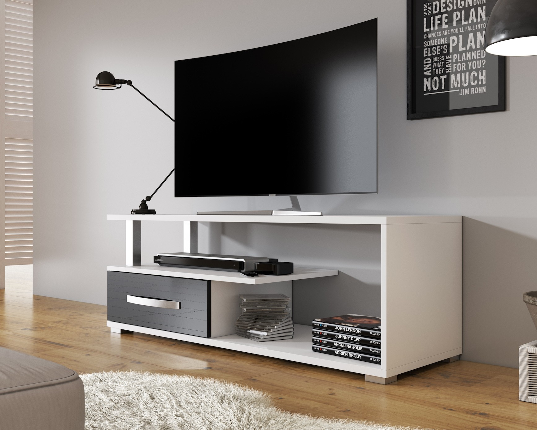 Tv Meubel Design.Tv Meubel Axel Wit Zwart 118 Cm Meubella