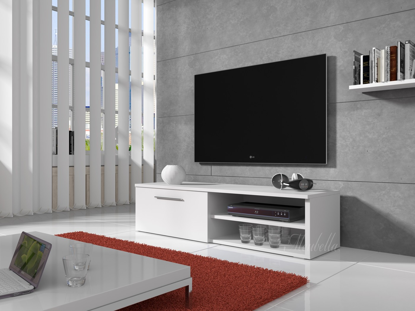 tv meubel bash wit mat 120 cm meubella. Black Bedroom Furniture Sets. Home Design Ideas
