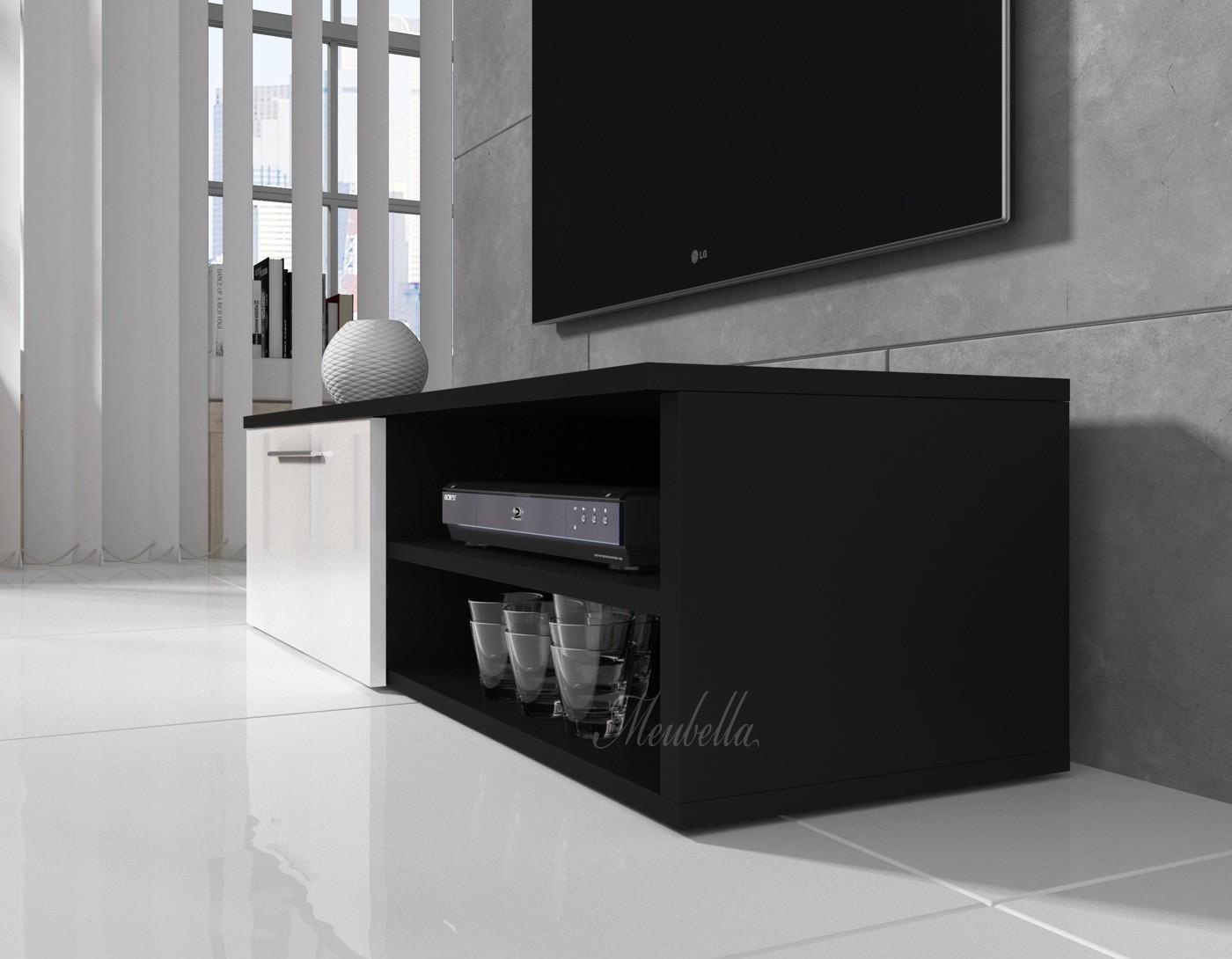 TV-meubel Bash - Wit - Zwart - 120 cm - Kasten en vitrinekasten ...