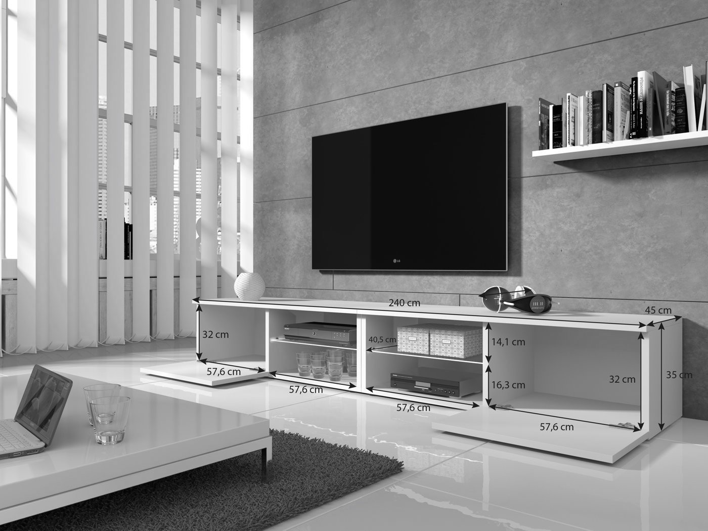 tv meubel bash ii led wit 240 cm meubella. Black Bedroom Furniture Sets. Home Design Ideas