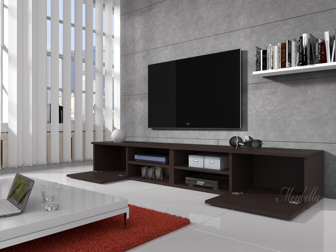 Tv meubel bash ii wenge 240 cm meubella for Showroommodellen design meubels