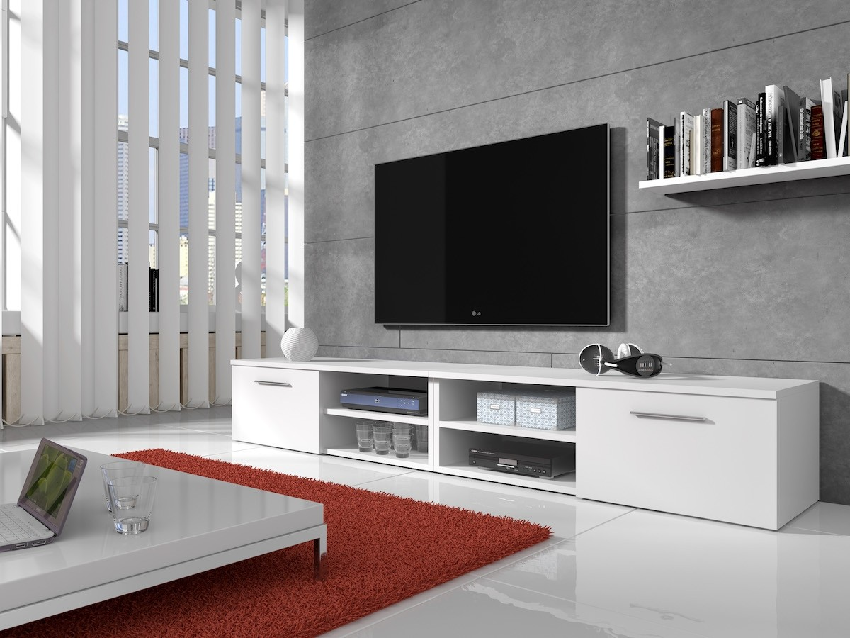 Welp TV-meubel Bash II - Wit - Mat - 240 cm | Meubella WB-78
