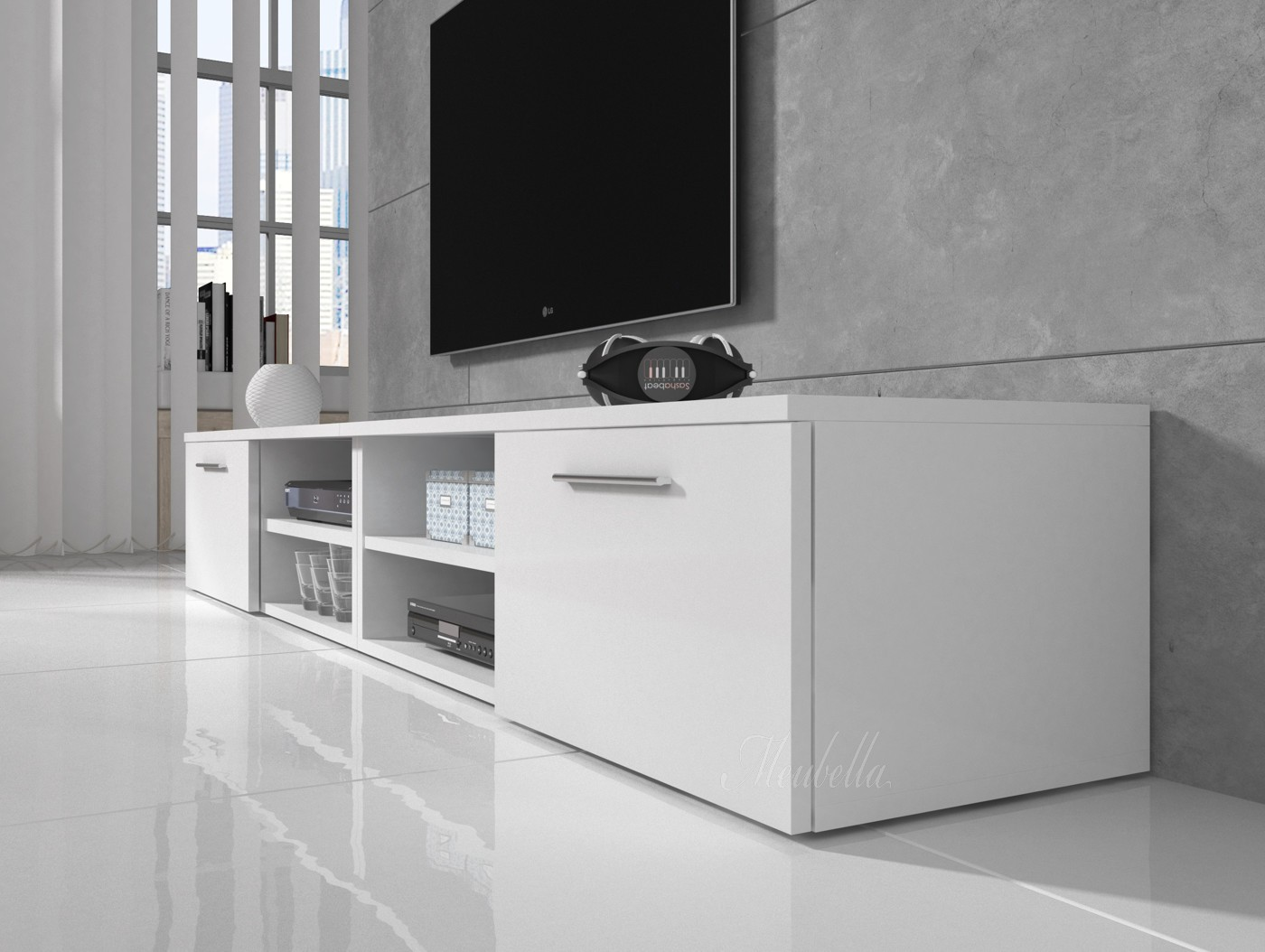 Tv meubel bash ii wit mat 240 cm meubella for Showroommodellen design meubels