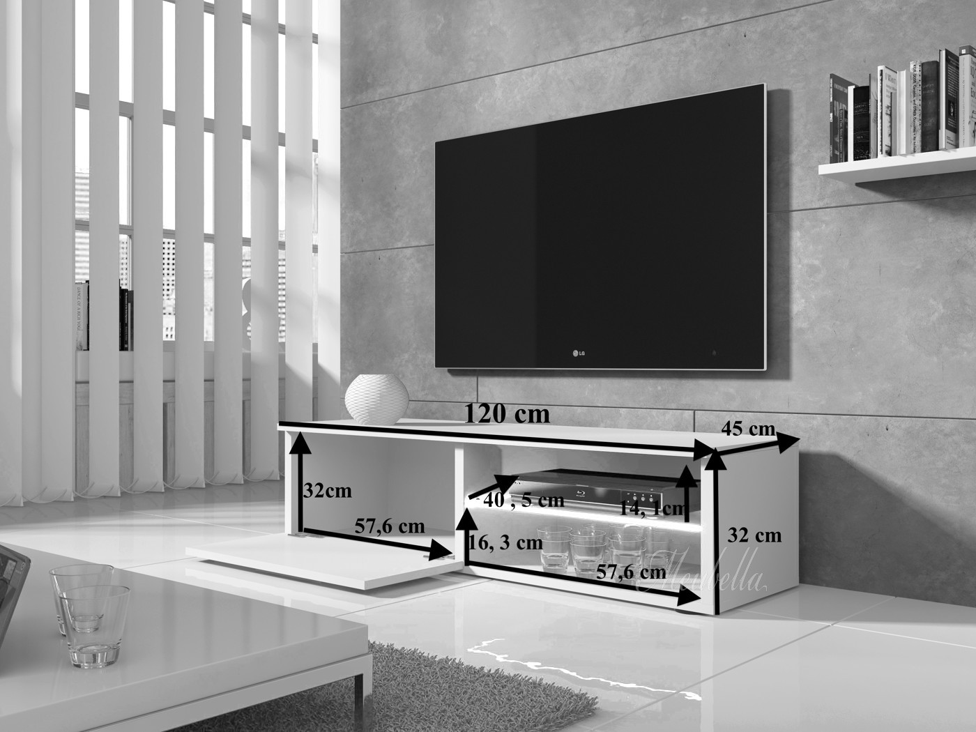 Tv meubel bash zwart wit 120 cm meubella for Showroommodellen design meubels