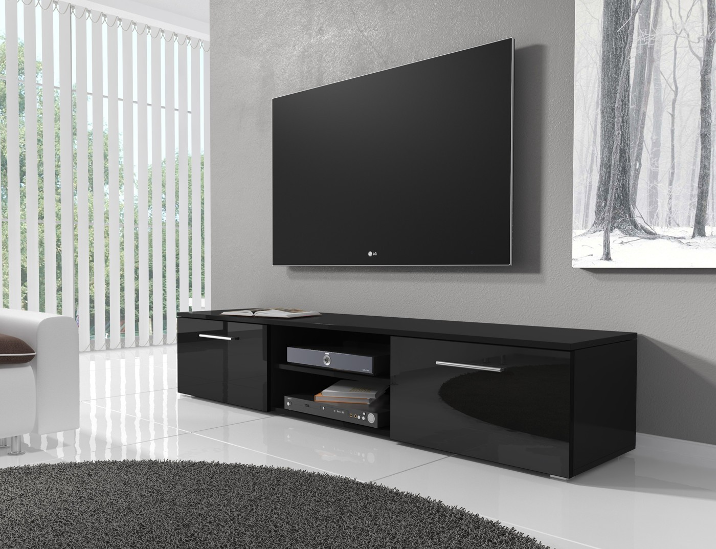 tv meubel basura i zwart 160 cm meubella. Black Bedroom Furniture Sets. Home Design Ideas