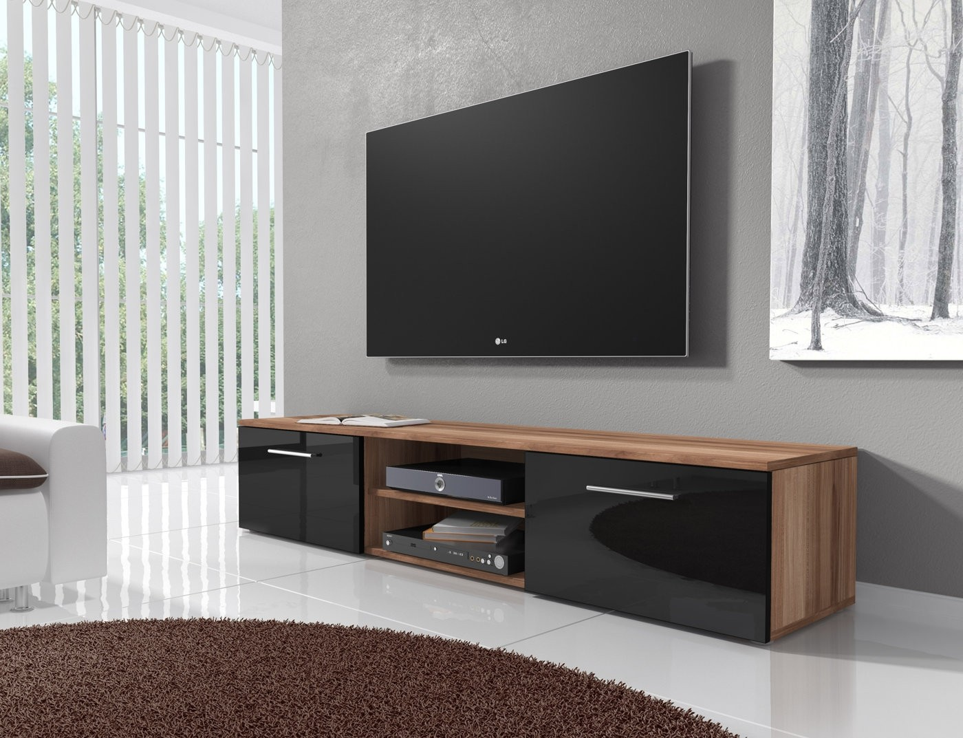 tv meubel basura i zwart eiken 160 cm meubella. Black Bedroom Furniture Sets. Home Design Ideas