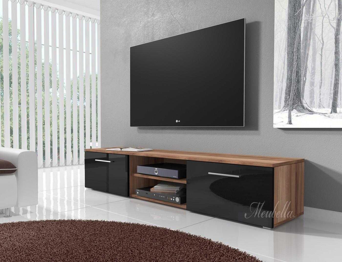 Tv meubel basura i zwart eiken 160 cm meubella for Showroommodellen design meubels