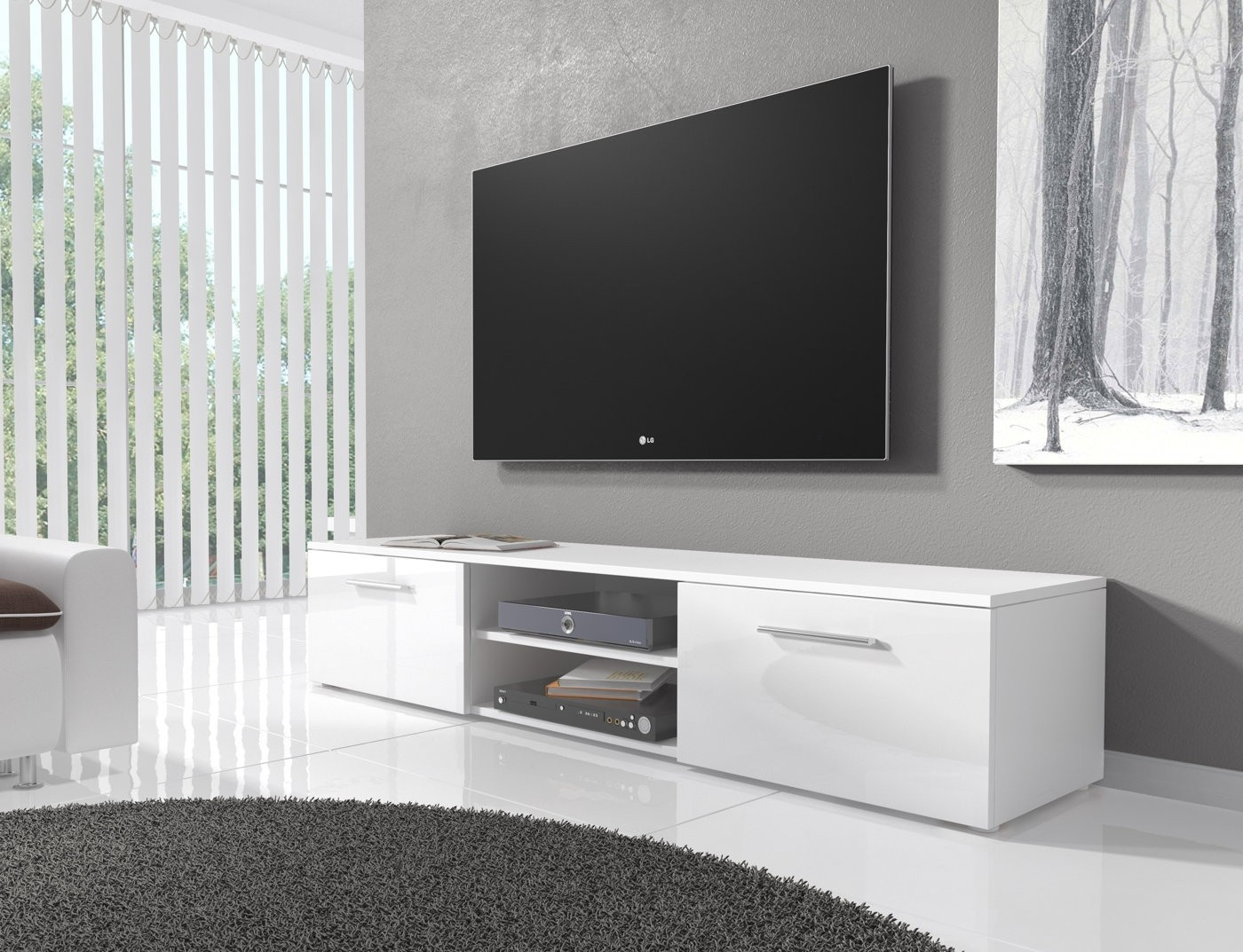 tv meubel basura i wit 160 cm meubella. Black Bedroom Furniture Sets. Home Design Ideas