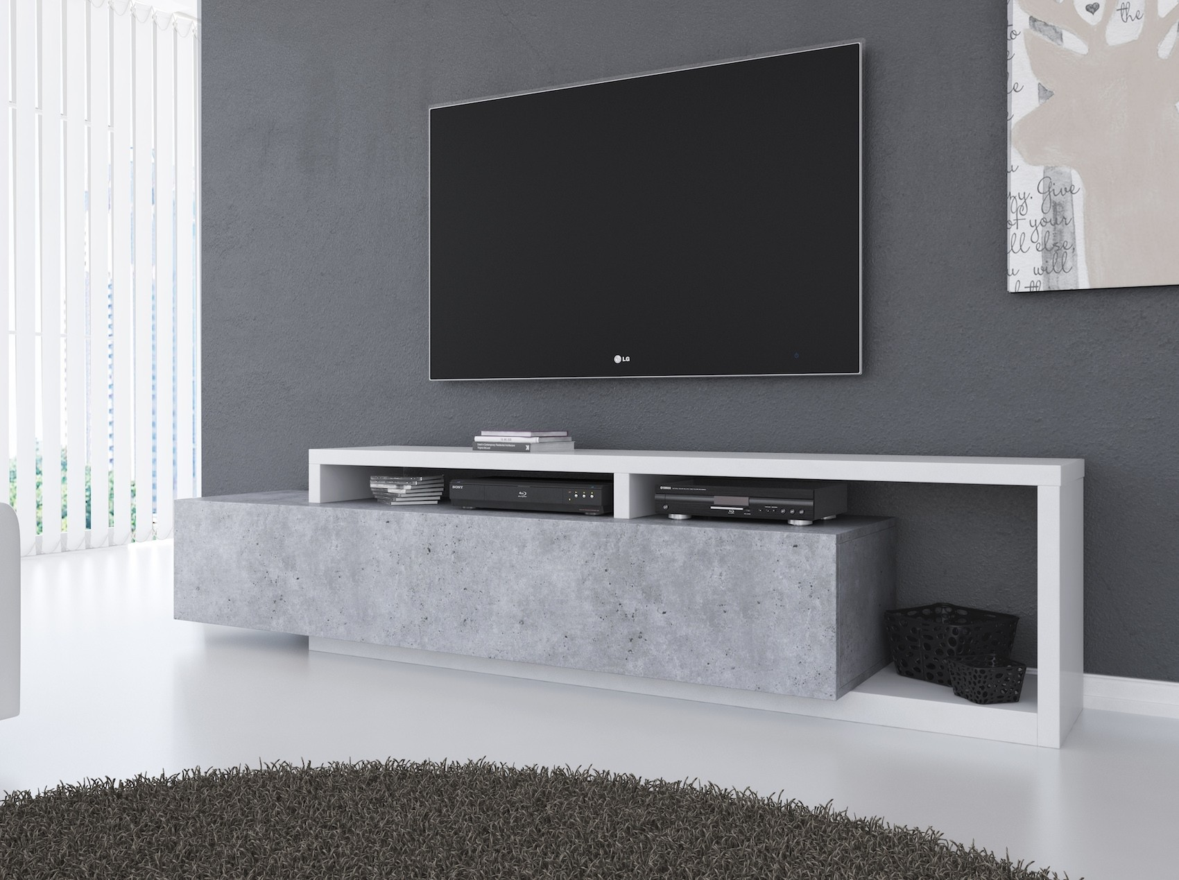 Dressoir Tv Kast Wit.Tv Meubel Bello Beton Wit 219 Cm Meubella