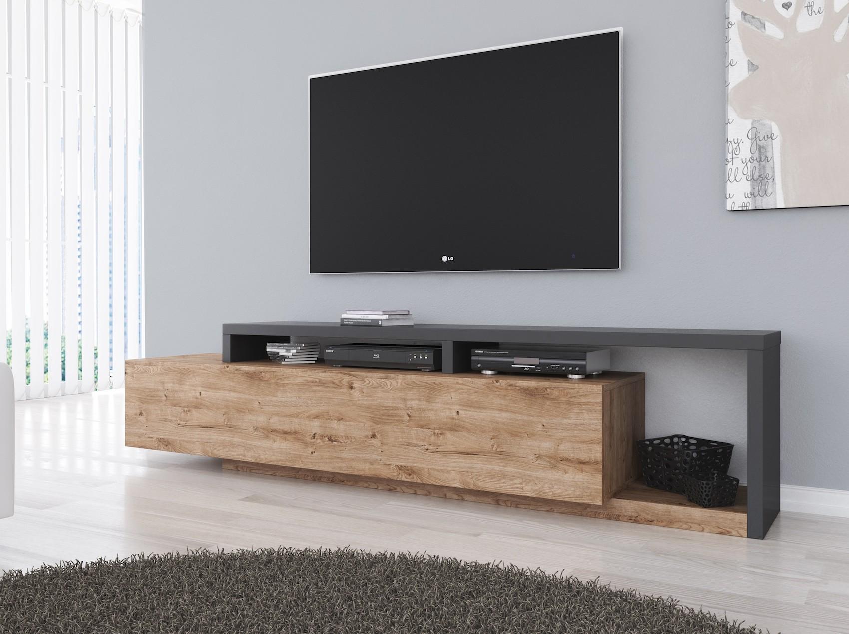 Stevige Tv Kast.Tv Meubel Bello Eiken Antraciet 219 Cm Meubella