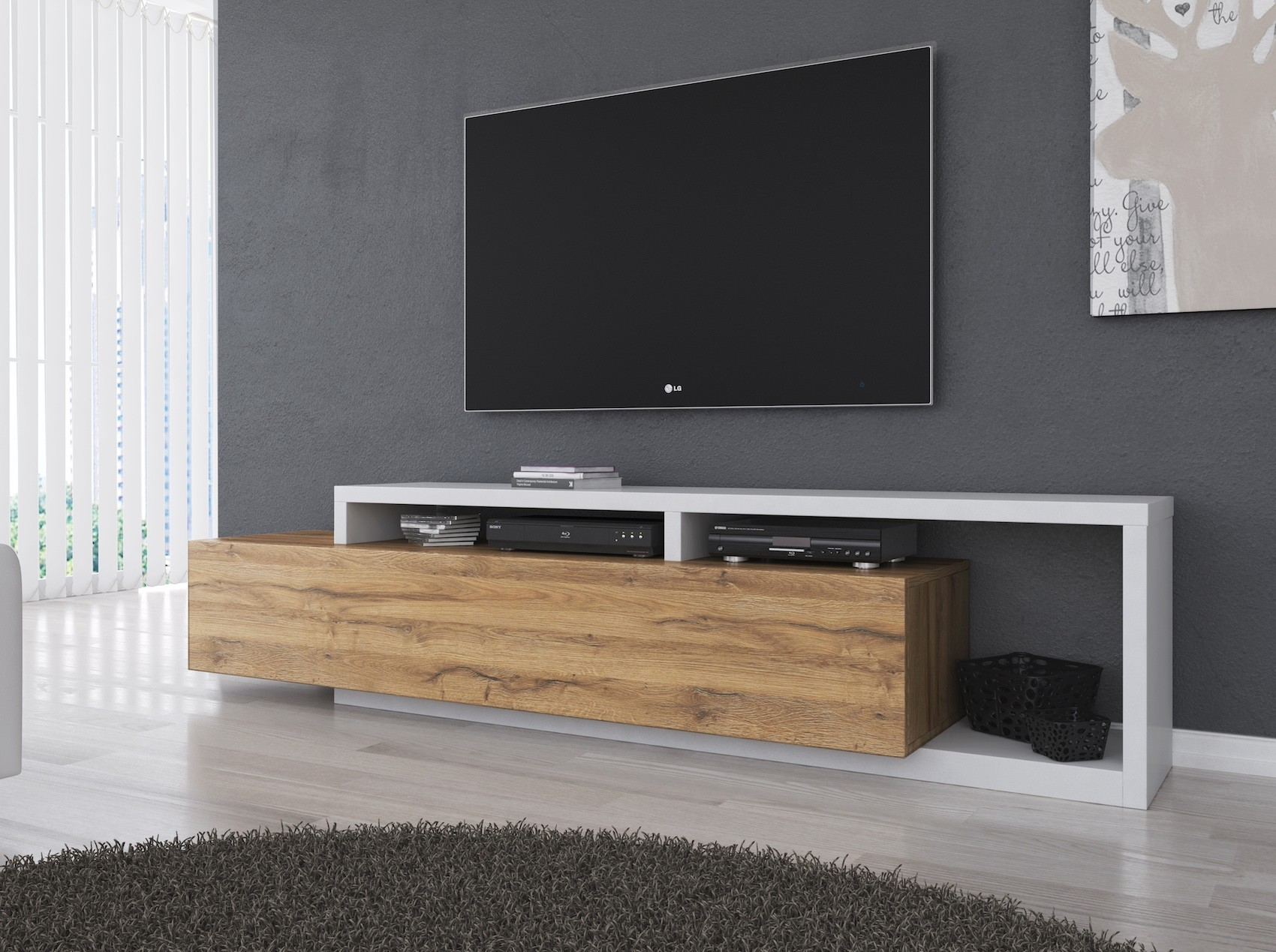 Gratis Eiken Tv Kast.Tv Meubel Bello Eiken Wit 219 Cm Meubella