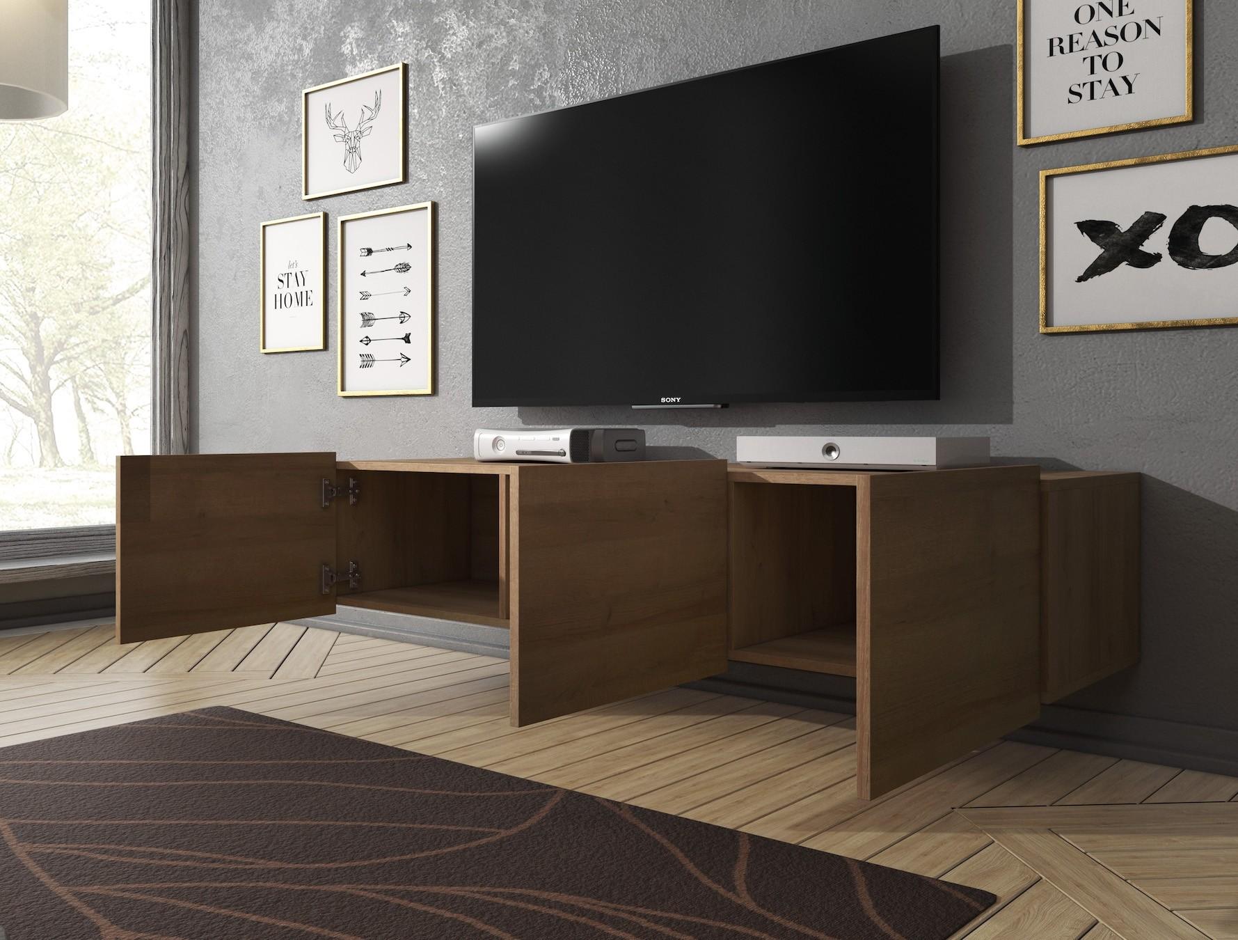 Tv meubel calgary eiken 150 cm hangend meubella for Showroommodellen design meubels