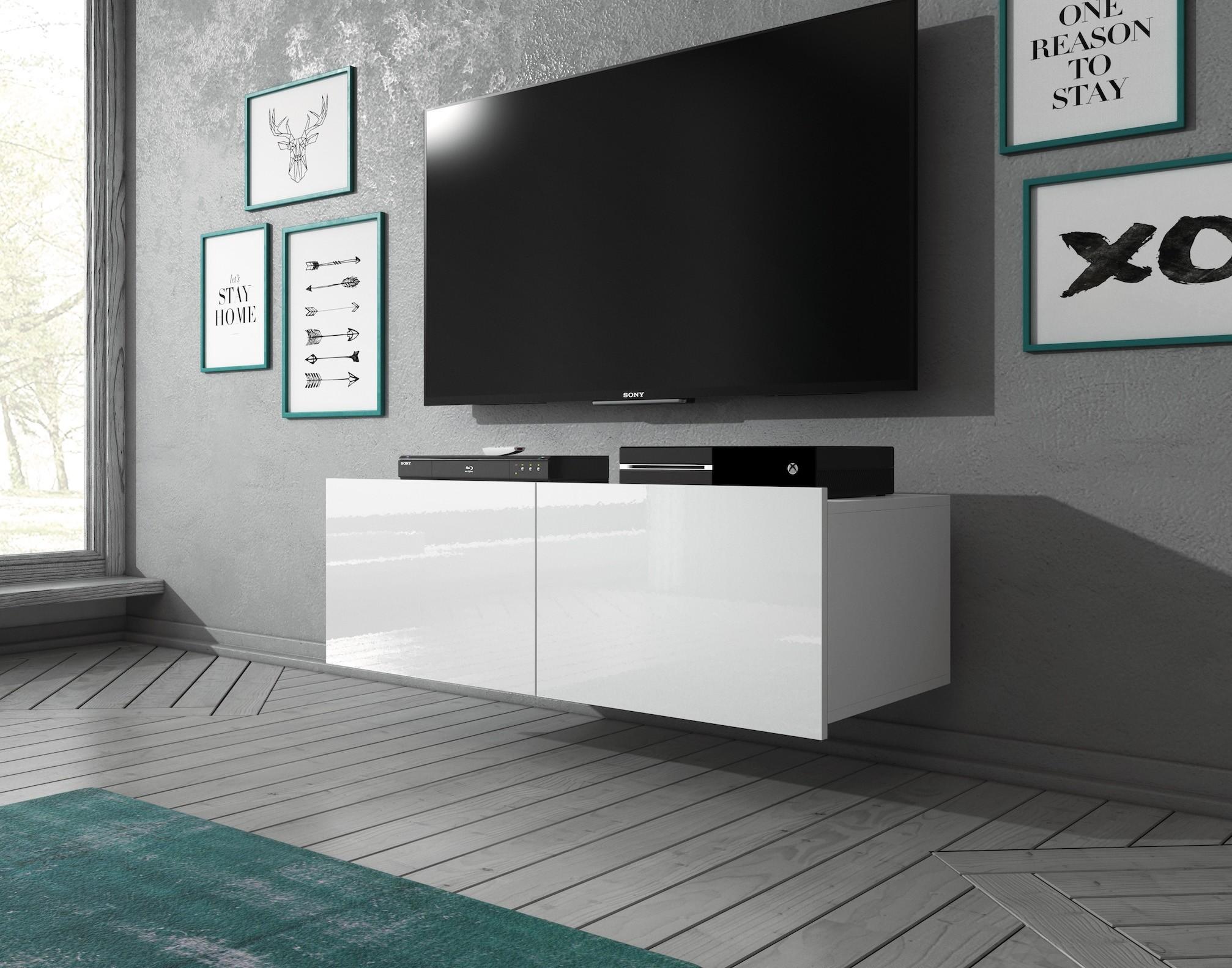 Complete Woonkamer Actie : Tv meubel calgary wit cm hangend actie meubella