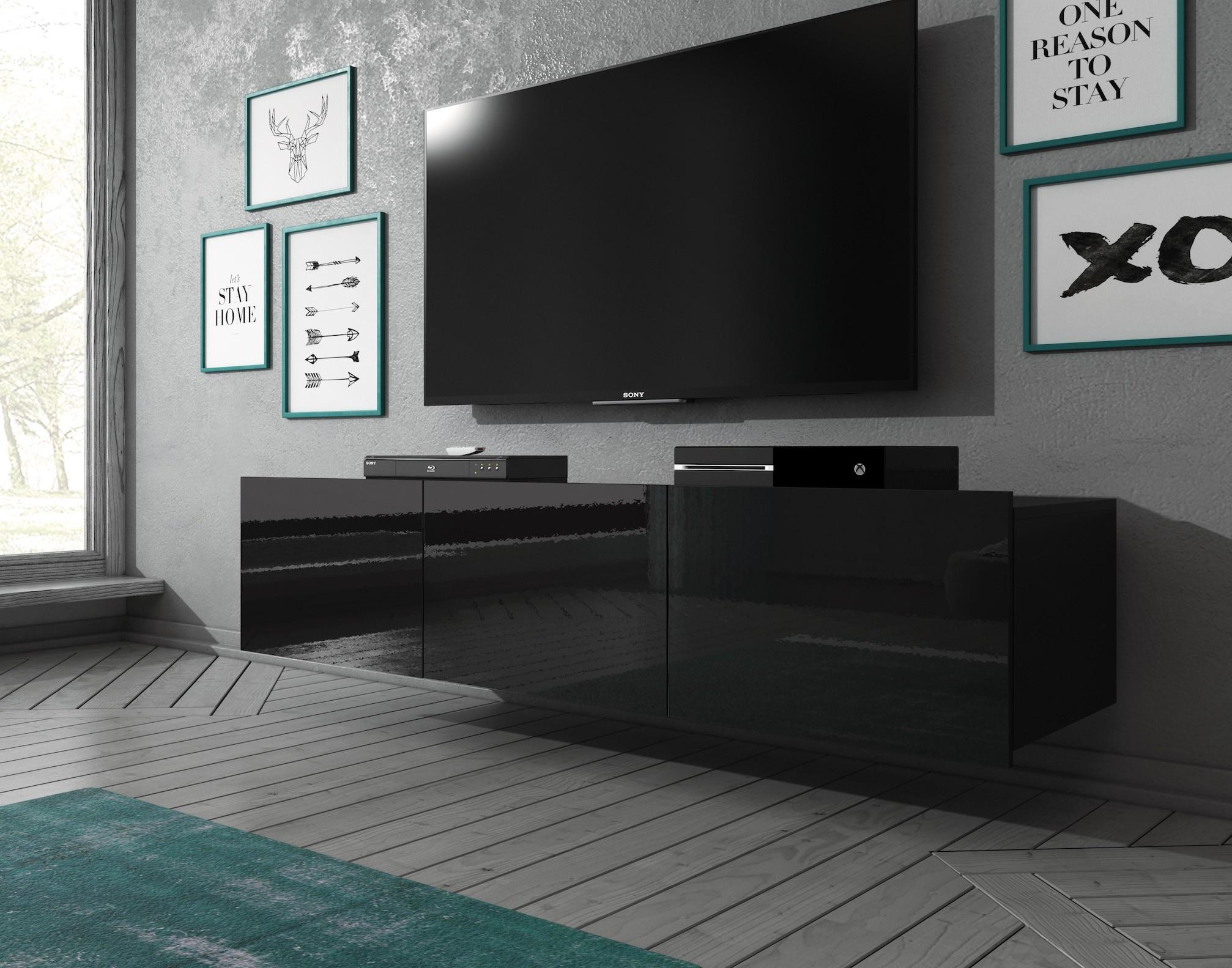 Tv Meubel 150 Cm.Tv Meubel Calgary Zwart 150 Cm Staand Of Hangend Meubella