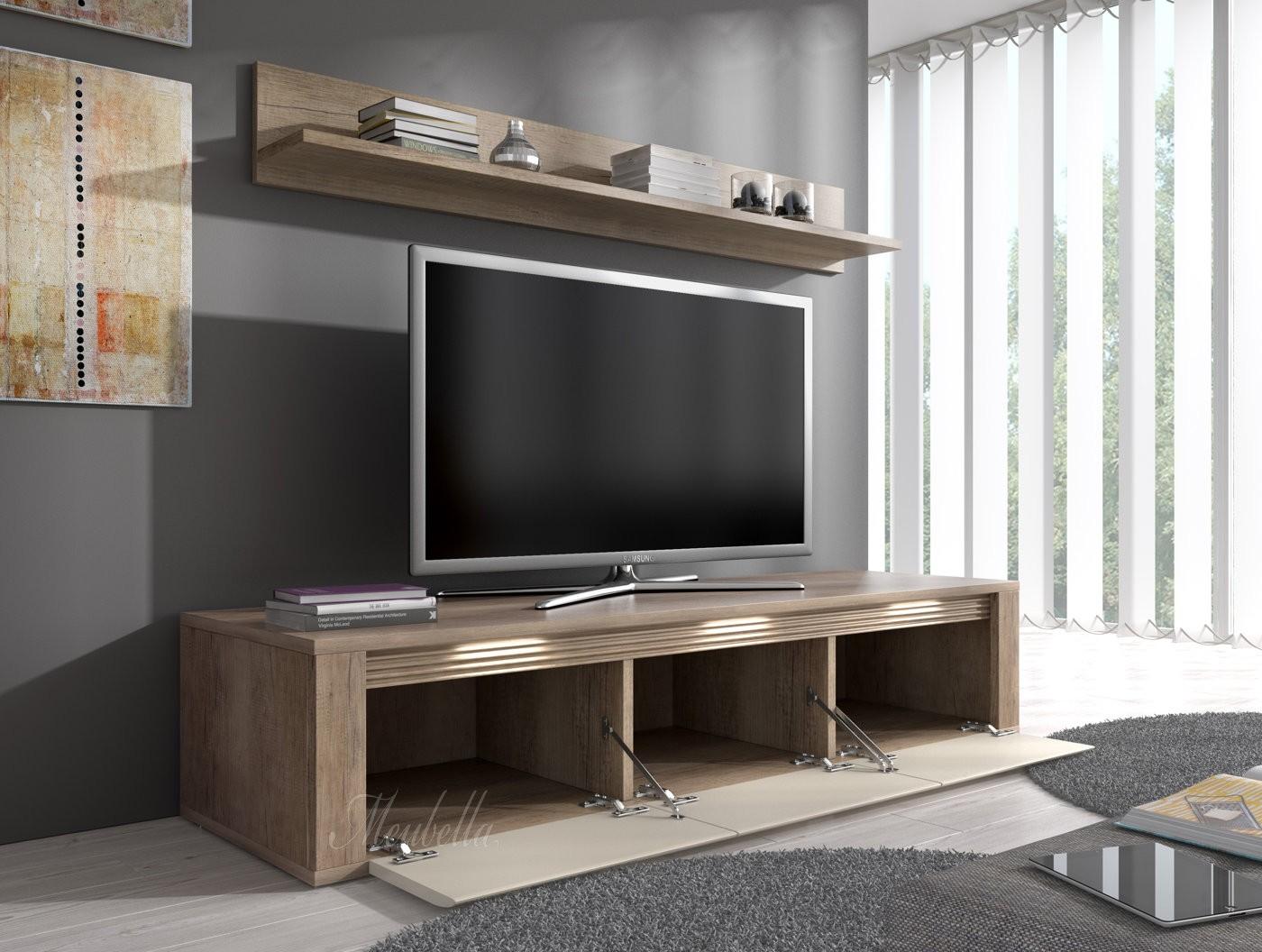 TV-Meubel Camara + wandplank - Grijs Eiken - Creme - 154 cm | Meubella