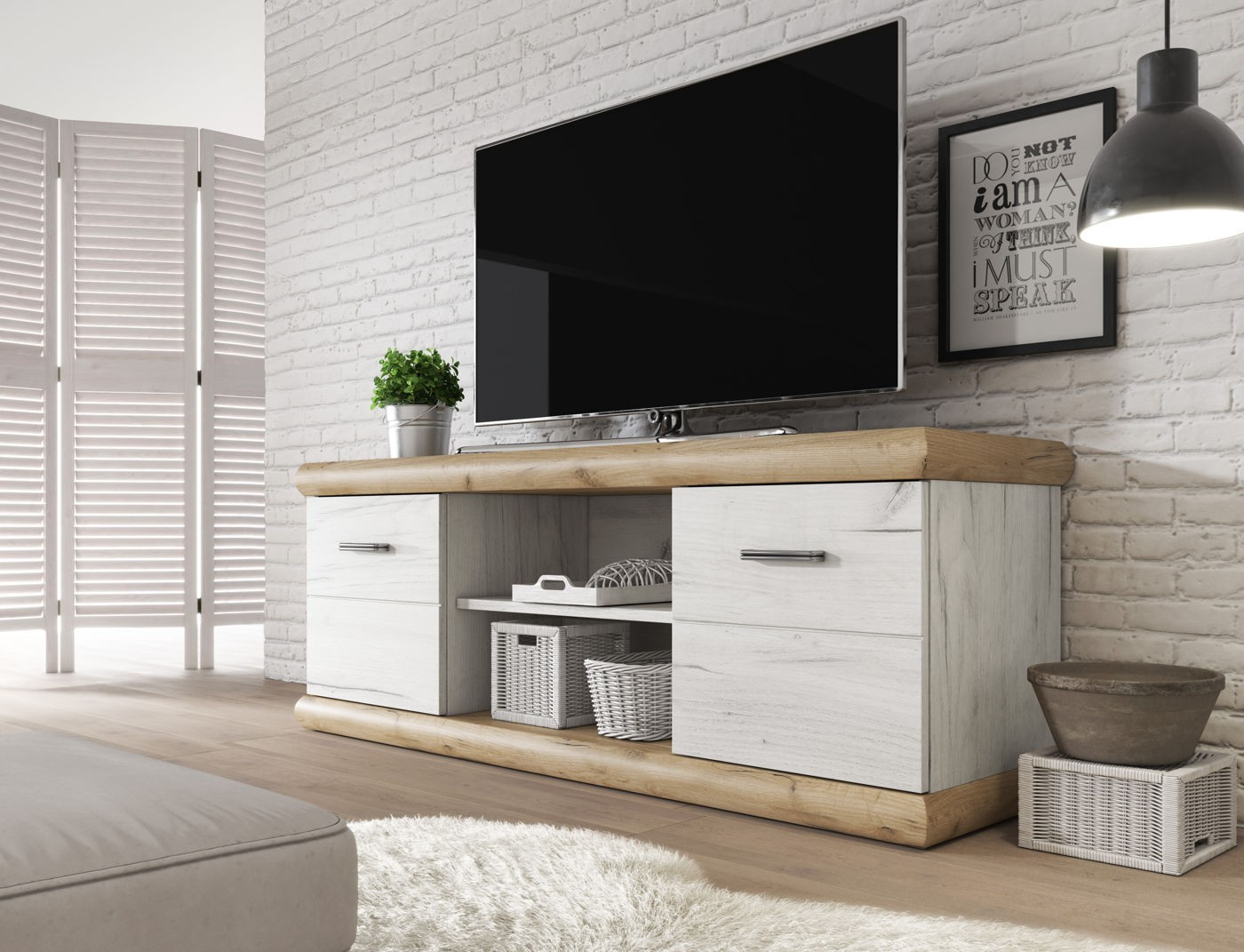 Tv meubel crown wit licht eiken 157 cm meubella for Showroommodellen design meubels