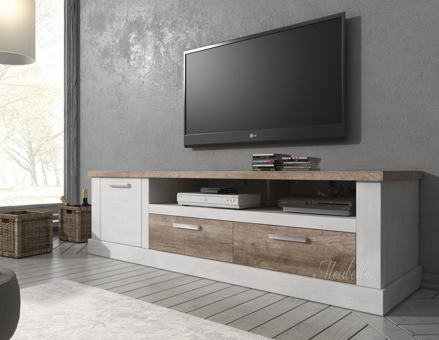 tv meubel danvill wit eiken 180 cm meubella