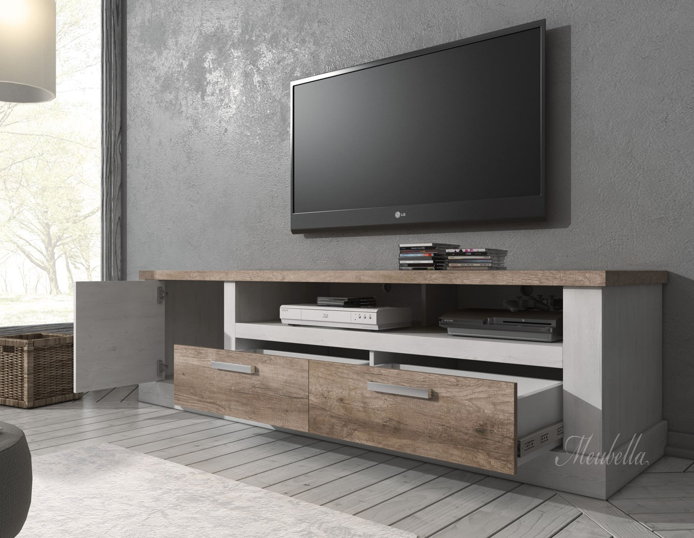 tv meubel danvill wit eiken 180 cm meubella. Black Bedroom Furniture Sets. Home Design Ideas