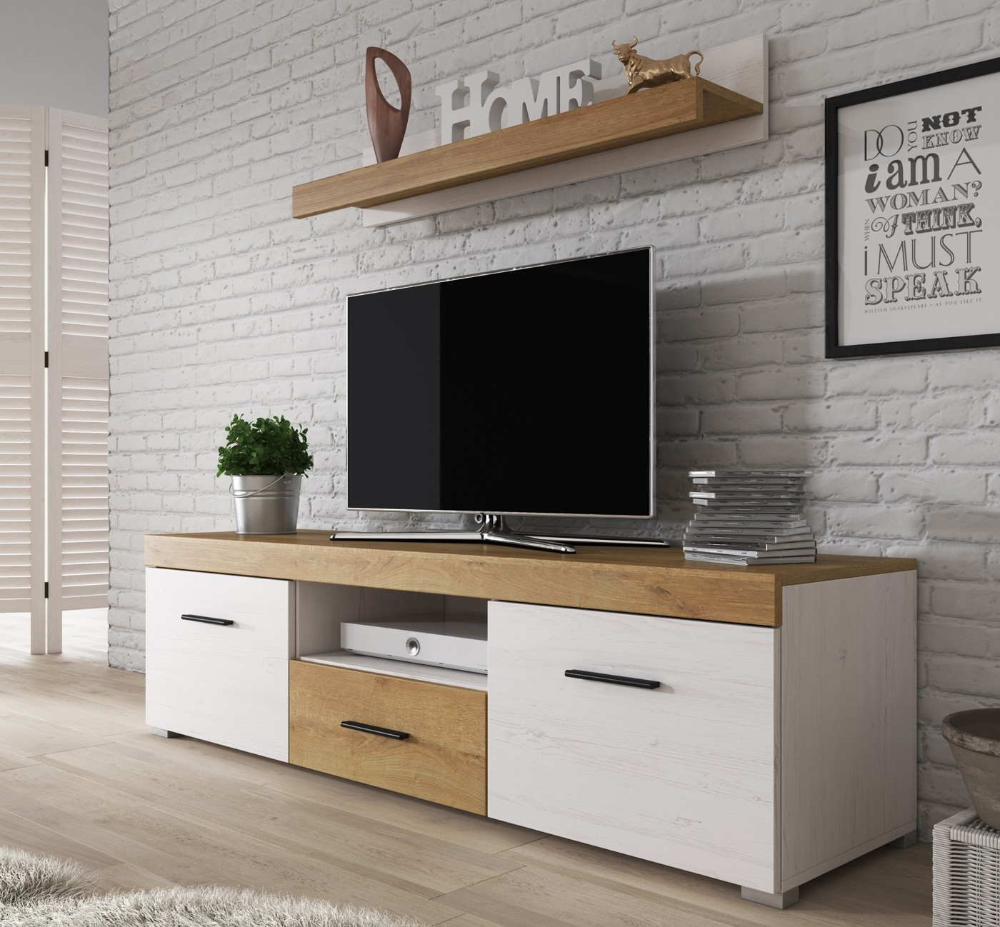 Wandplank Diepte 40 Cm.Tv Meubel Farley Wandplank Wit Eiken Eiken 150 Cm Meubella