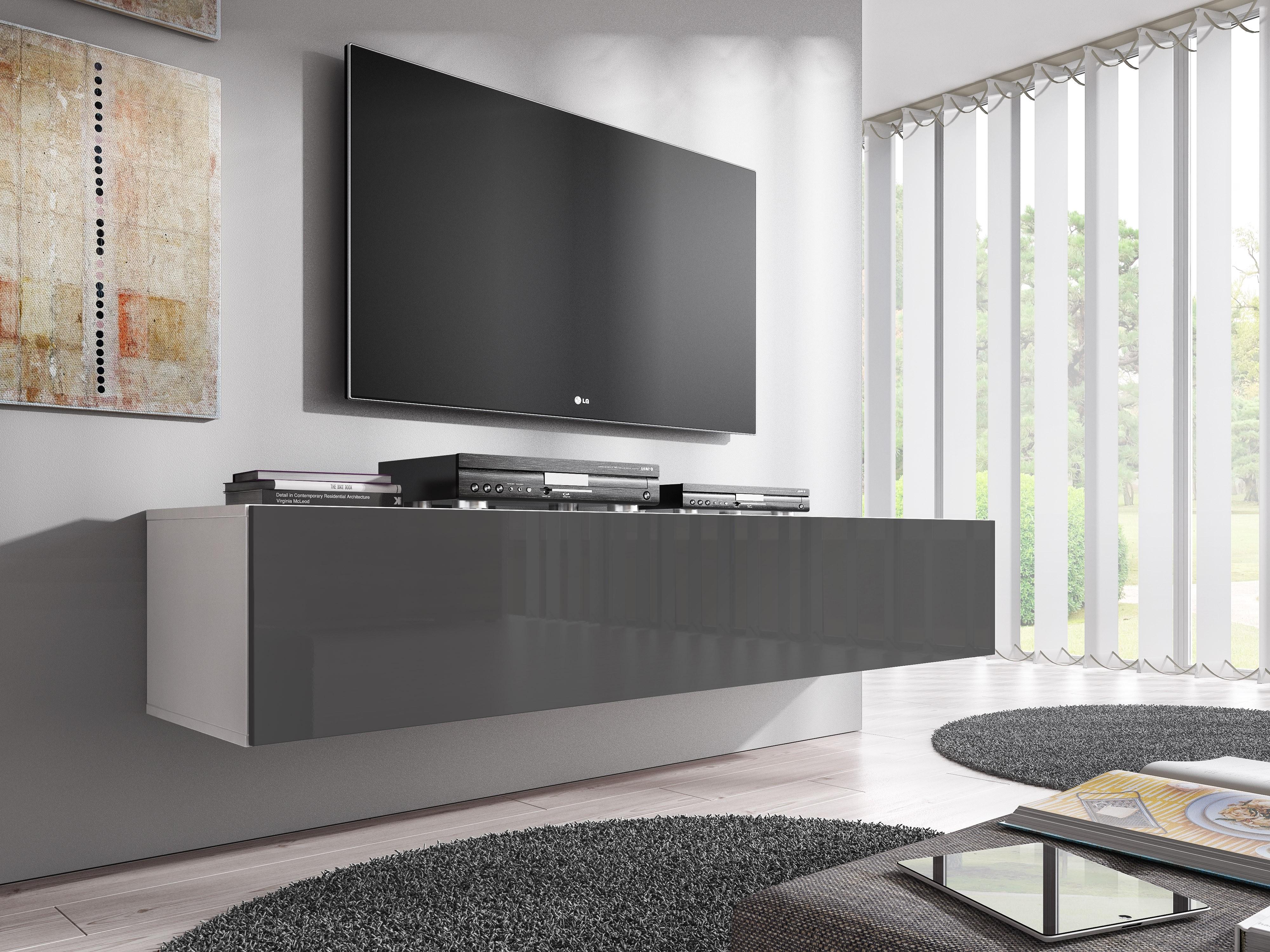 Tv Meubel Flame Grijs Wit 160 Cm