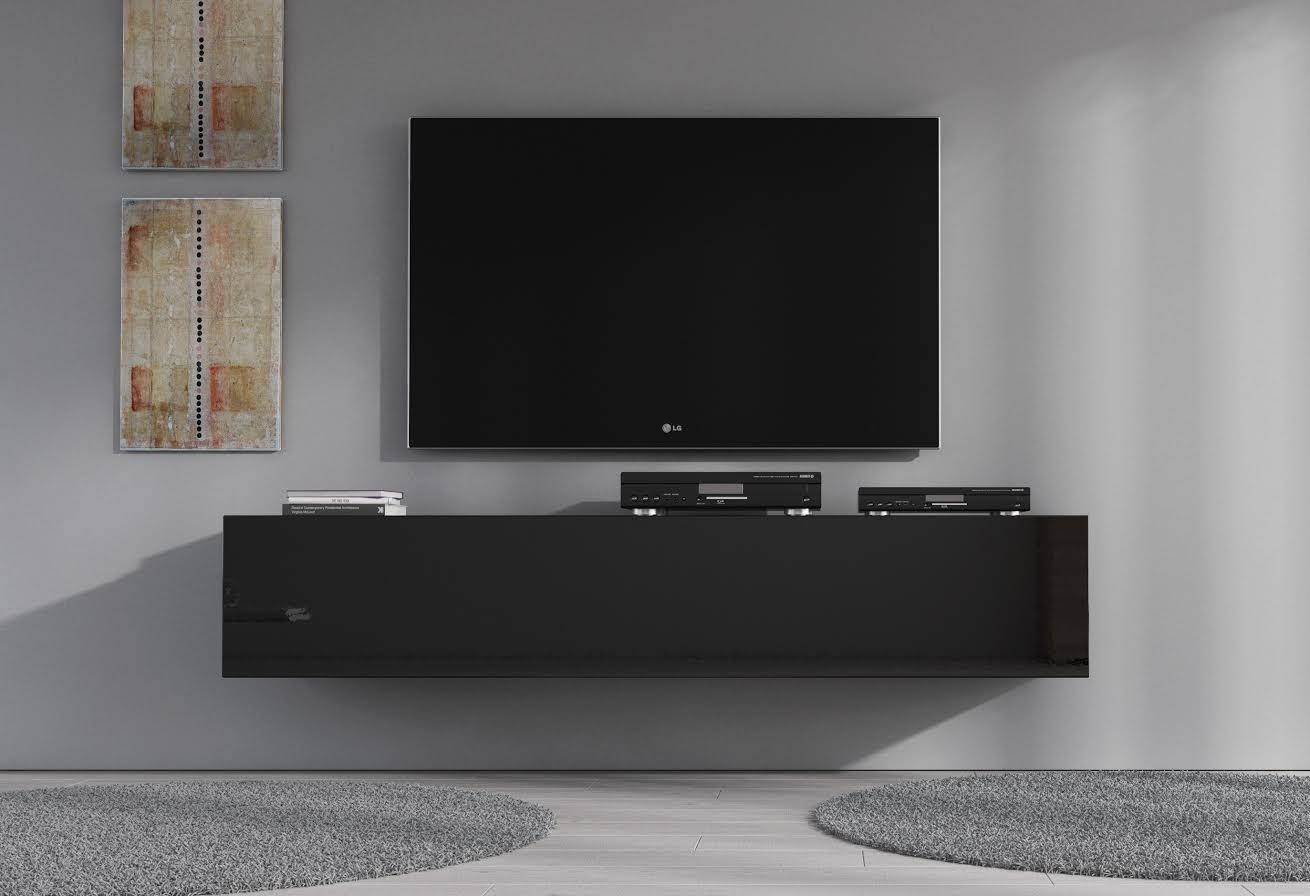 Zwevend Hoogglans Zwart Tv Meubel Flame 1 Lowboard Tv Kast.Tv Meubel Flame Zwart 160 Cm Meubella
