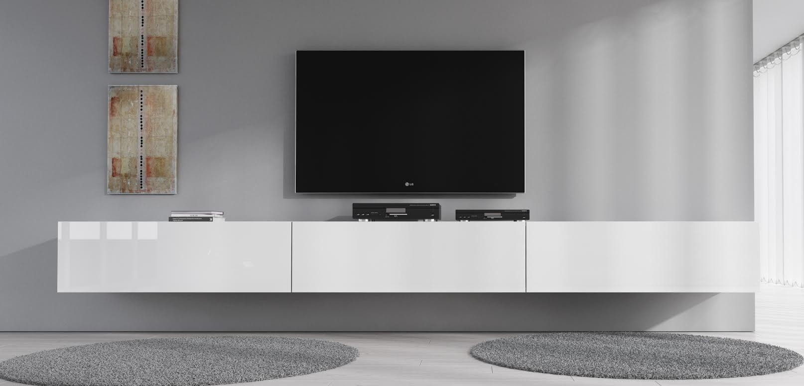 Tv Meubel Flame Wit 300 Cm