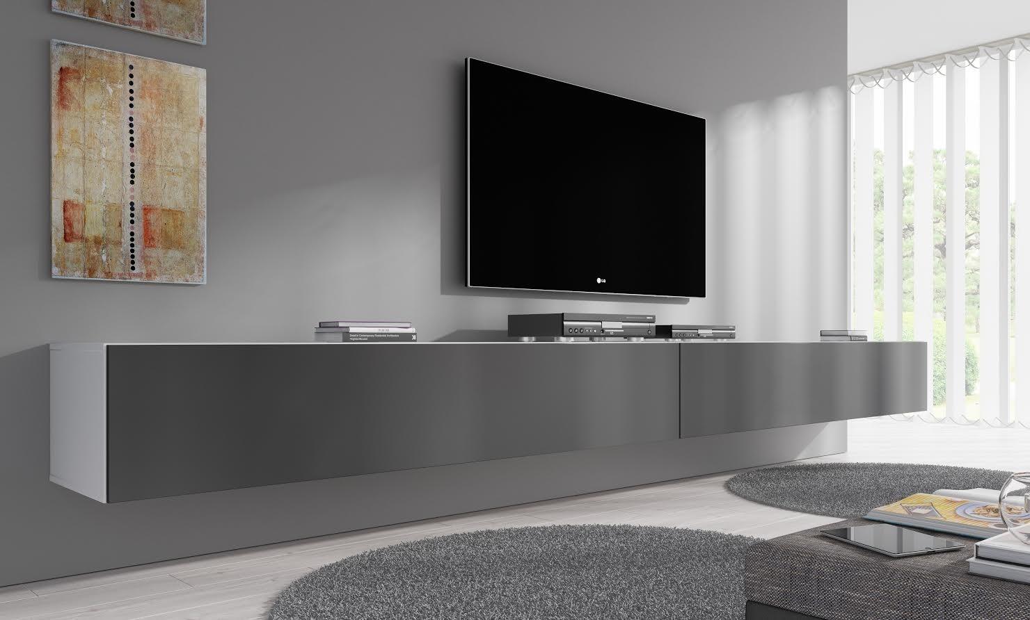 TV-Meubel Flame - Grijs - Wit - 320 cm | Meubella