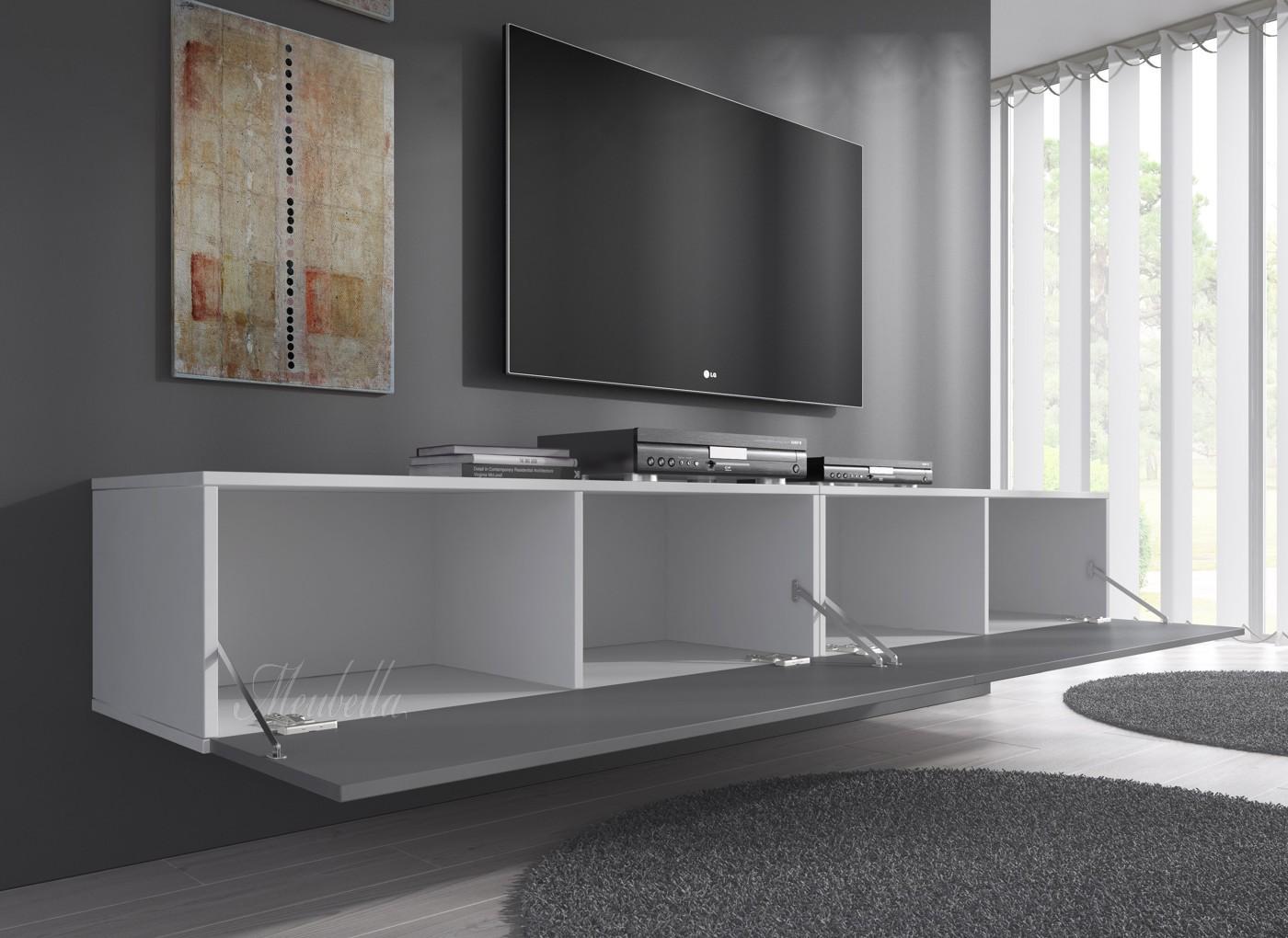 TV-Meubel Flame - Grijs - Wit - 200 cm | Meubella