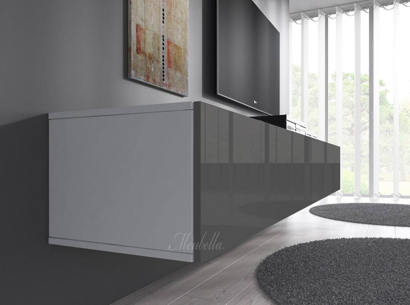 TV-Meubel Flame - Grijs - Wit - 160 cm | Meubella