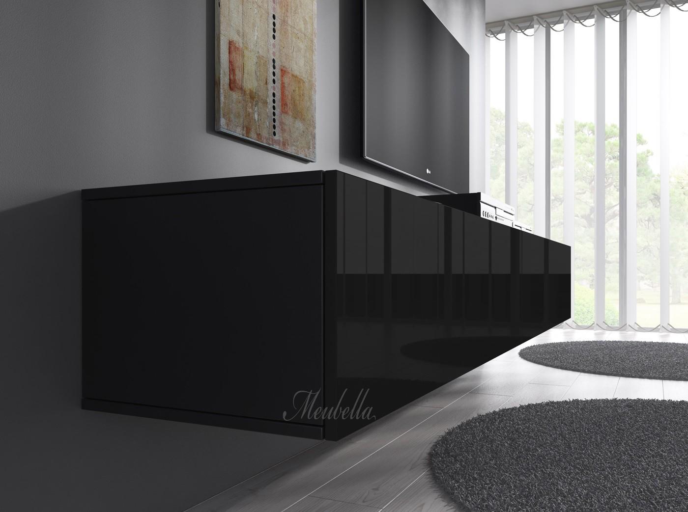 Tv meubel flame zwart 100 cm meubella for Tv meubel design outlet